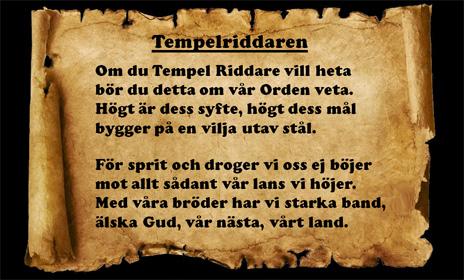 Inledningen av TempelRiddareDikten
